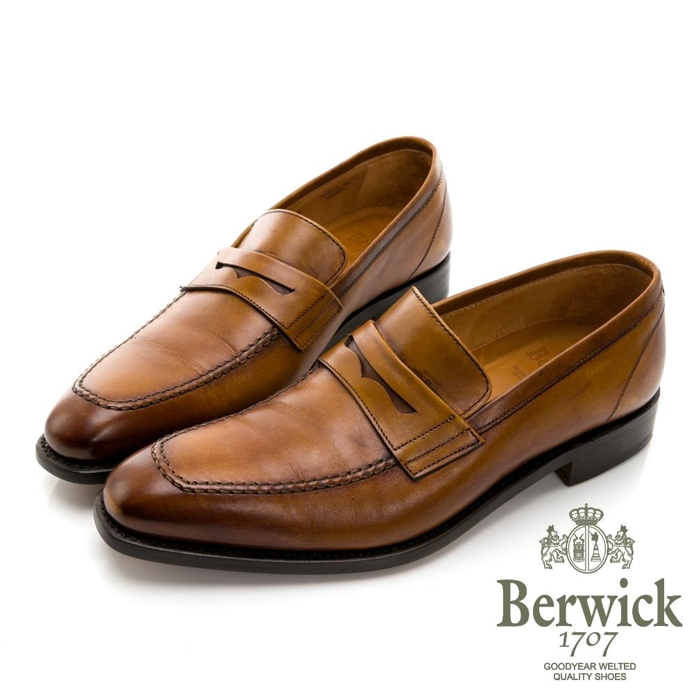 BERWICK西班牙進口-固特異工藝尖頭皮底紳士樂福鞋 -咖 435039KM-20
