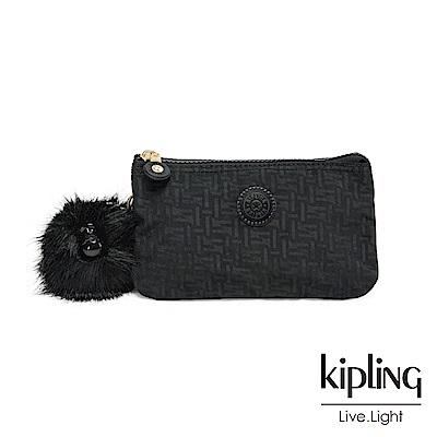 Kipling黑色幾何紋路三夾層配件包-CREATIVITY L