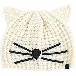 KARL LAGERFELD Choupette 貓咪造型粗針織毛帽(白色)