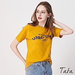 弧形英文印花T恤上衣 共二色 TATA- 動態show
