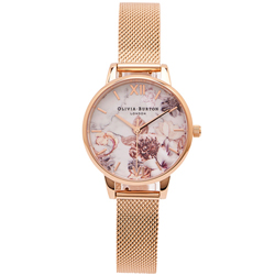 OLIVIA BURTON 花采盎然款米蘭錶帶手錶(OB16CS06)-花朵面/30mm