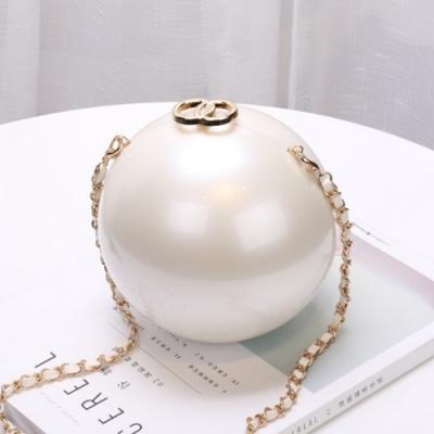 米蘭精品 晚宴包珍珠鏈條包-精美圓形硬盒時尚女包情人節生日禮物2款73iy1