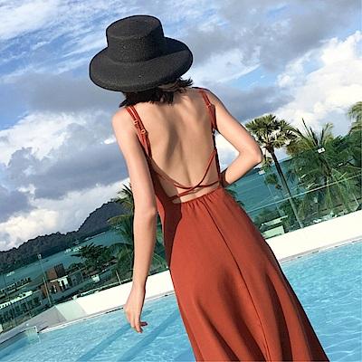 DABI 韓國風名媛氣質性感大露背無袖洋裝