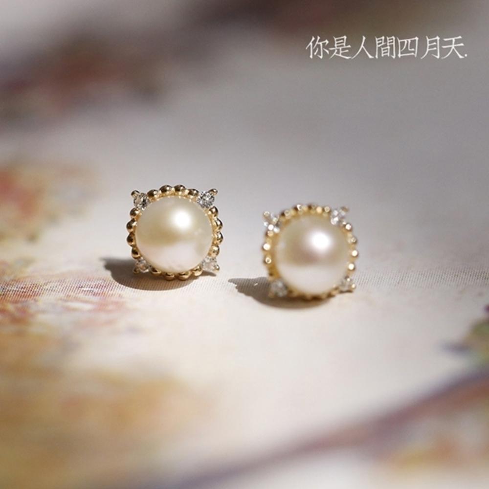 東方美學復古宮廷系9K真金鑲鋯鑽菱形淡水珍珠耳釘-設計所在