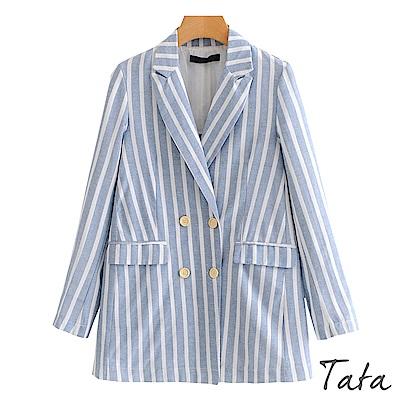 木釦條紋棉麻西裝外套 TATA