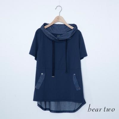 beartwo-剪接撞色帽T-藍