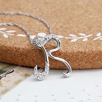 米蘭精品 925純銀項鍊-時尚簡約R英文字母