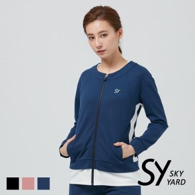 【SKY YARD 天空花園】假兩件拼色休閒外套-藍色