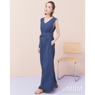 MIIM優雅交叉腰帶連身長洋裝-藍色