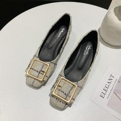 KEITH-WILL時尚鞋館 氣質格紋優雅粗跟鞋-米