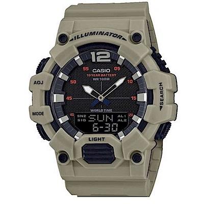 CASIO 經典再現10年電力雙顯電子錶(HDC-700-3A3)淺卡其色/48.8mm