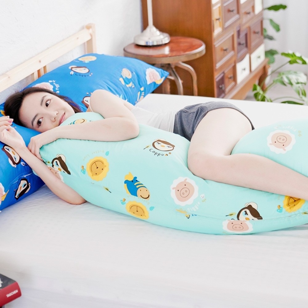 奶油獅 同樂會純棉-讓你抱抱等身夾腿長形枕-雙人枕50x150cm(湖水藍)