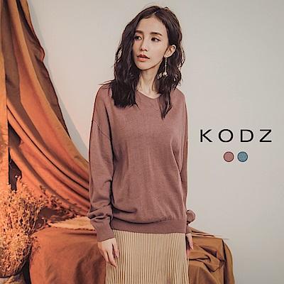 東京著衣-KODZ 簡約無印V領親膚混色針織上衣-S.M.L(共二色)