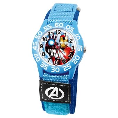 Disney迪士尼 Marvel漫威鋼鐵人自黏織帶錶33mm藍殼白字正面