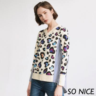 SO NICE時尚撞色愛心豹紋拼接上衣