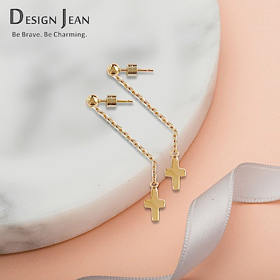 Design Jean 簡約小十字不鏽鋼抗敏流行長耳環(SEN0017)