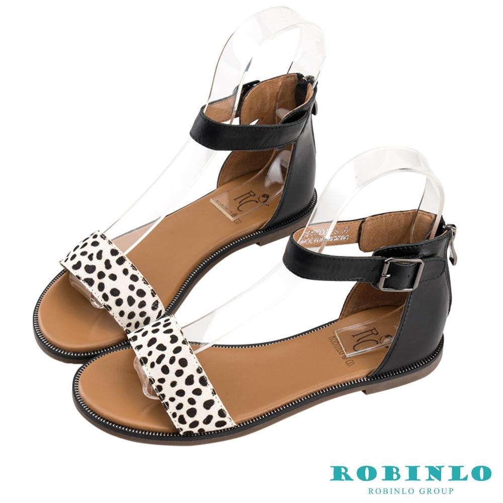 Robinlo夏日印花一字繫踝後拉鍊涼鞋 黑色