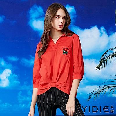 【YIDIE衣蝶】棉質蝴蝶結抓皺五分袖上衣-紅