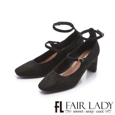 FAIR LADY 優雅小姐方頭絨布瑪麗珍繫踝扁跟鞋 黑