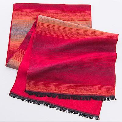 ELLE漸層設計蠶絲拉絨工藝輕柔保暖2面雙色圍巾_紅/藍