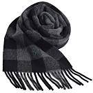 RALPH LAUREN POLO 小馬刺繡LOGO正方格格紋雙面配混羊毛圍巾(灰黑格/黑)