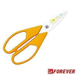 FOREVER 日本製造鋒愛華銀抗菌陶瓷剪刀小花系列_白刃橘黃柄