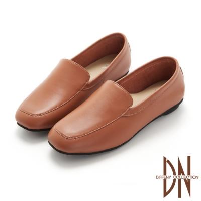 DN休閒鞋_MIT真皮素面縫線造型平底鞋-棕