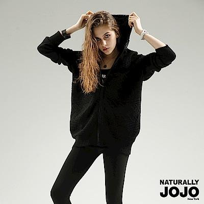 【NATURALLY JOJO】異材質拼接連帽外套(黑)