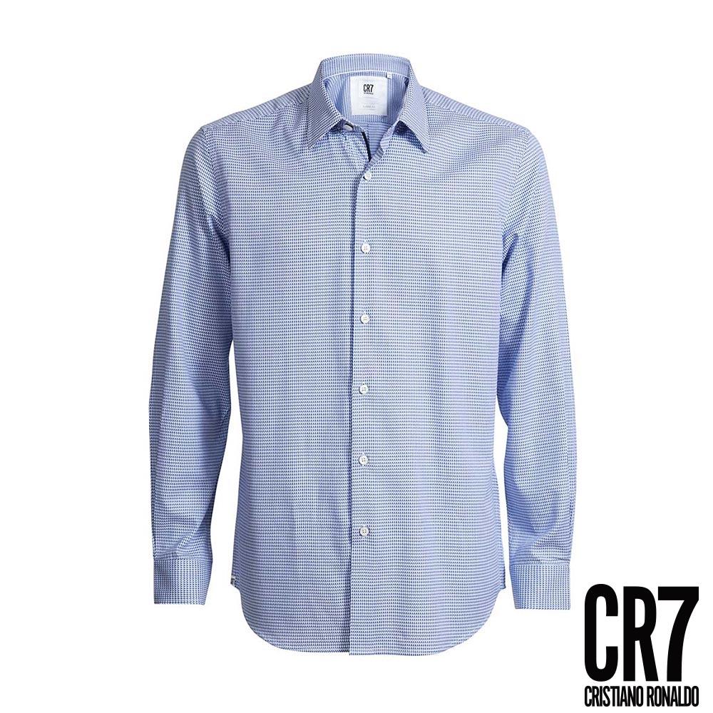 CR7-Slim Fit藍白十字紋襯衫(8631-7300-508)