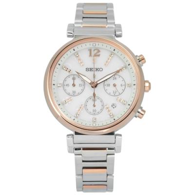 SEIKO 精工 LUKIA 晶鑽 太陽能 日期 不鏽鋼手錶-銀x鍍玫瑰金/36mm