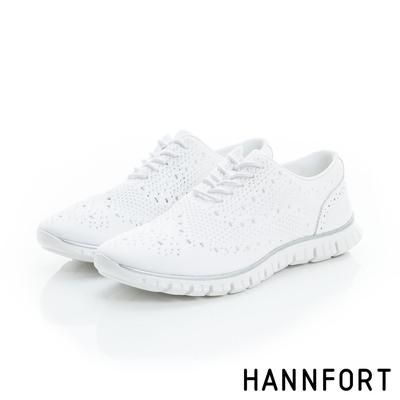 HANNFORT ZERO GRAVITY編織牛津氣墊鞋 女 純淨白