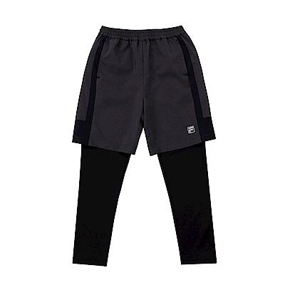 FILA KIDS 童抗UV吸濕排汗假兩件長褲-鐵灰 1PNS-8303-RG
