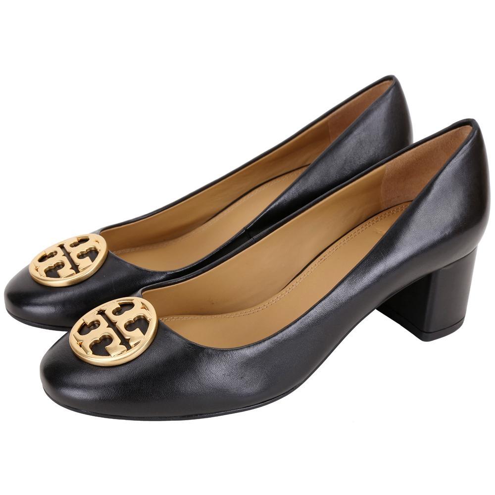 TORY BURCH Chelsea 黃銅標誌納帕牛皮粗跟鞋(黑色)