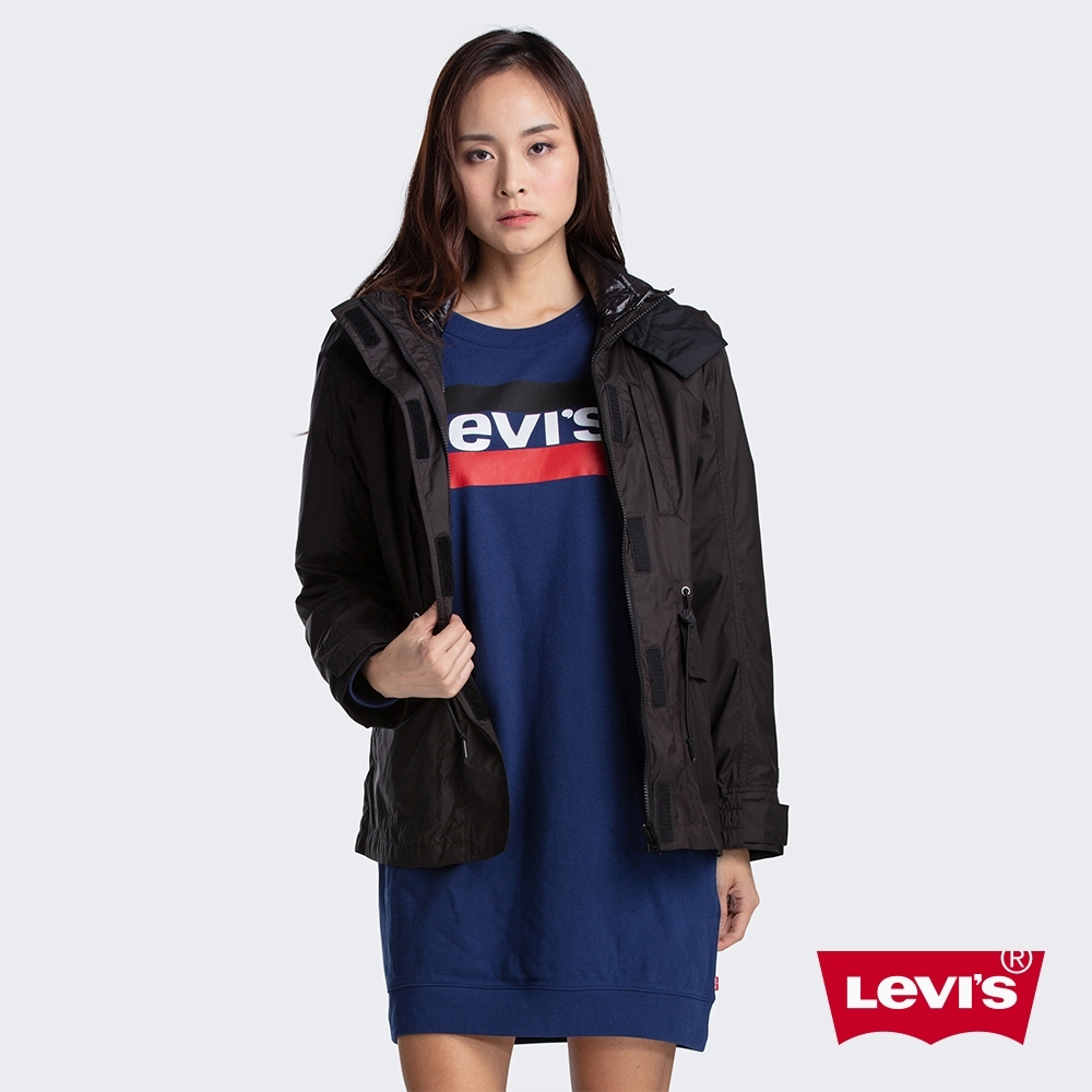 Levis 女款 2件式鋪棉風衣夾克 3種穿搭風格 中長版 抽繩腰線 刺繡Logo