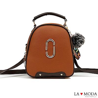 La Moda 超質感多Way大釦飾荔枝紋毛球掛飾肩背斜背後背包(棕)