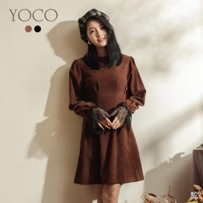 東京著衣-YOCO 浪漫氣質蕾絲領袖修身腰線洋裝-M.L(共二色)