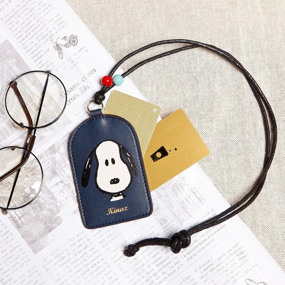 KINAZ SNOOPY史努比聯名款 彩珠裝飾頸掛証件卡夾-默契經典藍-Friends氧氣小物系列