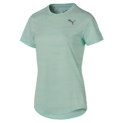PUMA-女性慢跑系列經典印花短袖T恤-輕水藍-歐規