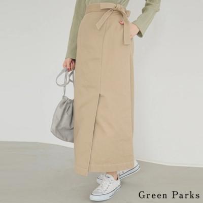 Green Parks 特色綁帶拼接素面裙