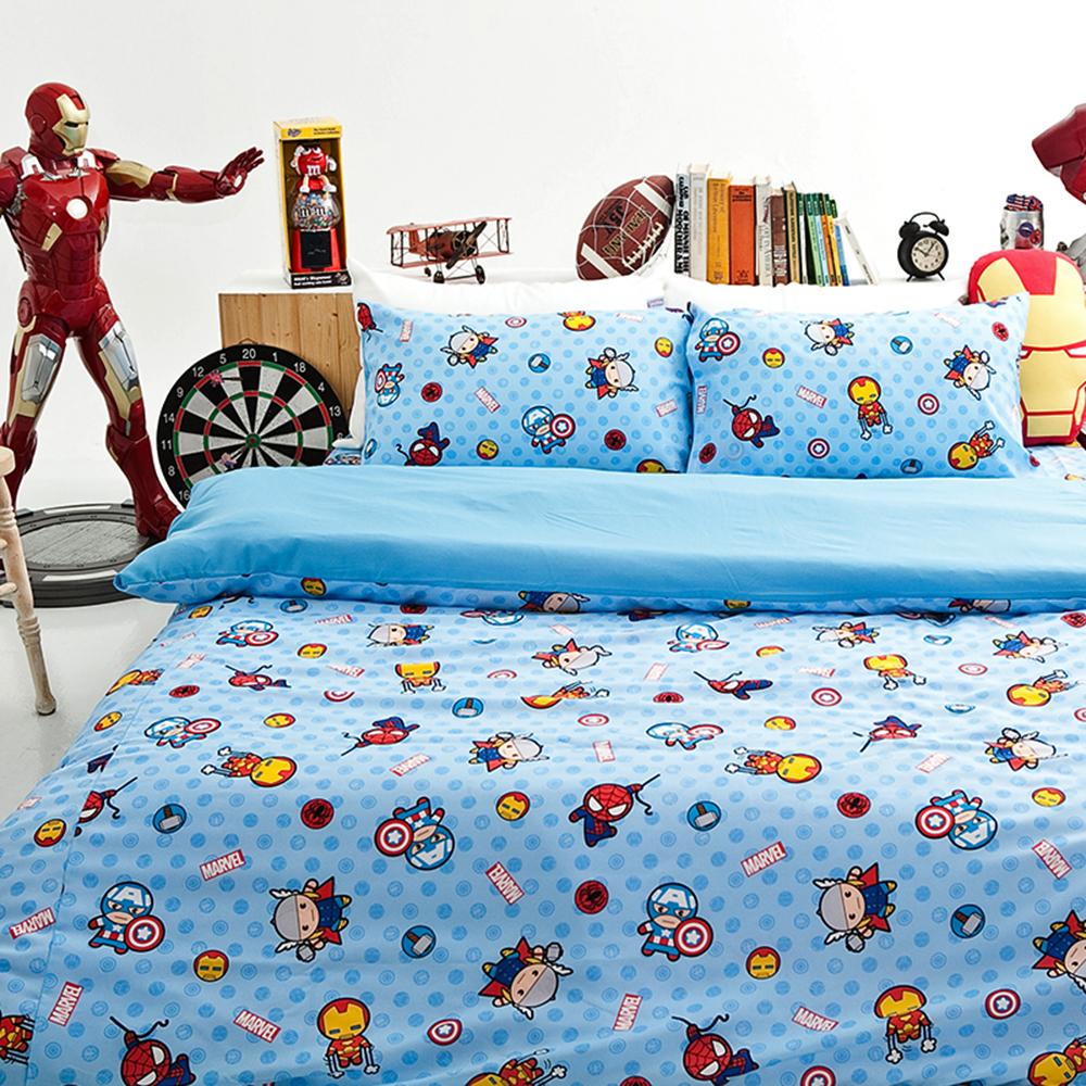 戀家小舖 / 雙人加大床包被套組  復仇者聯盟-超萌英雄  高密度磨毛布  台灣製