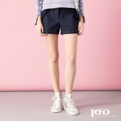 【IGD 英格麗】口袋荷葉剪裁單寧短褲