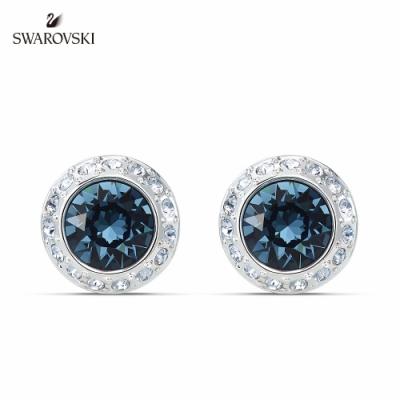 SWAROVSKI 125週年系列施華洛世奇 Angelic 白金色藍水晶圓形耳釘