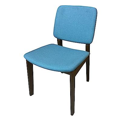 AS-Diana深胡桃色藍布面實木餐椅--48x53x80cm
