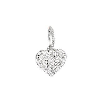 apm MONACO法國精品珠寶 閃耀銀色鑲鋯愛心單邊圈式耳環