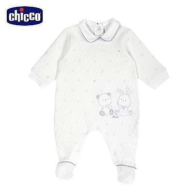 chicco-星空熊系列-夾棉印星有領後開兔裝-咖(3-12個月)
