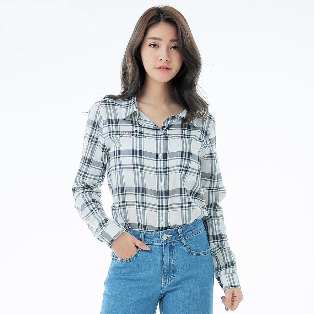 Victoria 休閒中長版襯衫-女-白底藍直條 product image 1
