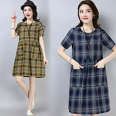 格紋口袋連衣裙-共3色(M-2XL可選)     NUMI  復古
