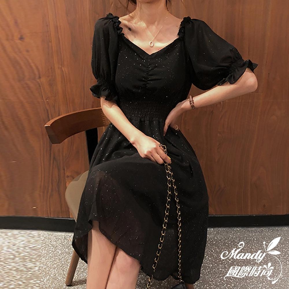 Mandy國際時尚 短袖洋裝 公主袖寬領收腰連身洋裝 _預購【韓國服飾】