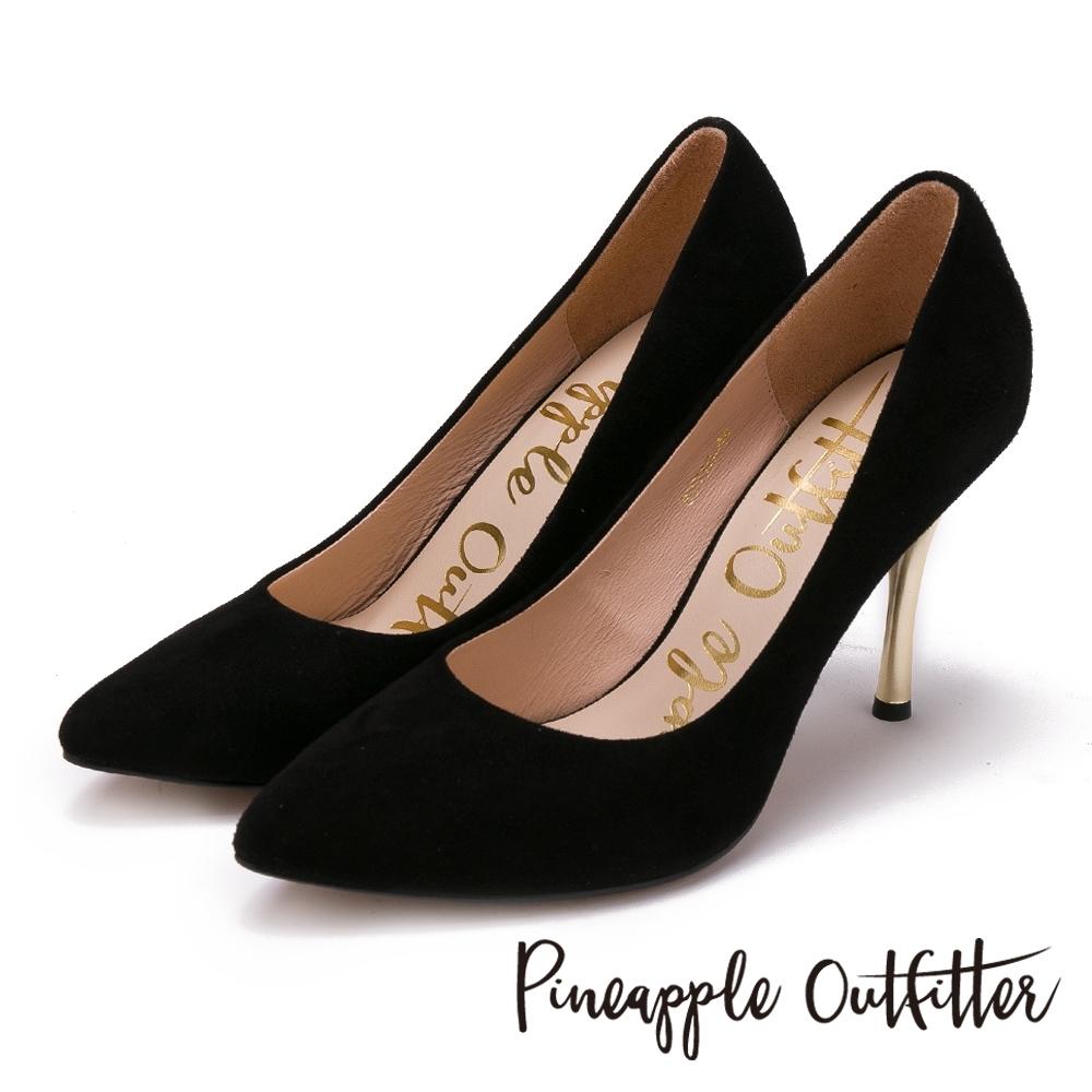 Pineapple Outfitter 性感名媛 真皮素面尖頭金屬高跟鞋-絨黑