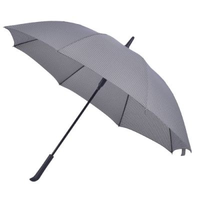 2mm 日系無印風 彎手柄高爾夫防風直傘 (深灰格紋)